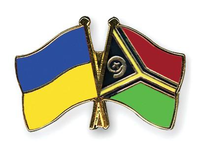 Crossed Flag Pins Ukraine-Vanuatu