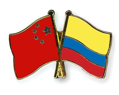 Crossed Flag Pins China-Colombia