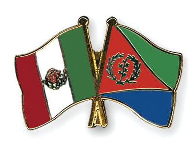 Crossed Flag Pins Mexico-Eritrea
