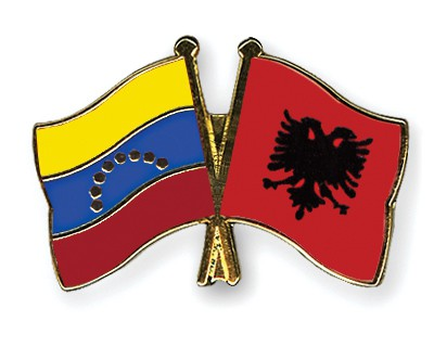Crossed Flag Pins Venezuela-Albania