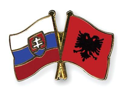 Crossed Flag Pins Slovakia-Albania
