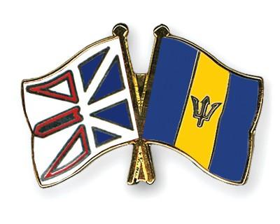 Crossed Flag Pins Newfoundland-and-Labrador-Barbados