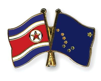 Crossed Flag Pins North-Korea-Alaska