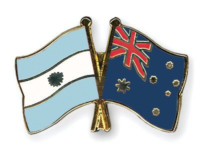 Crossed Flag Pins Argentina-Australia
