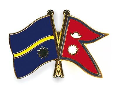 Crossed Flag Pins Nauru-Nepal