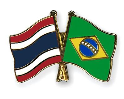 Crossed Flag Pins Thailand-Brazil