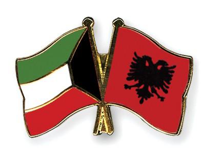 Crossed Flag Pins Kuwait-Albania