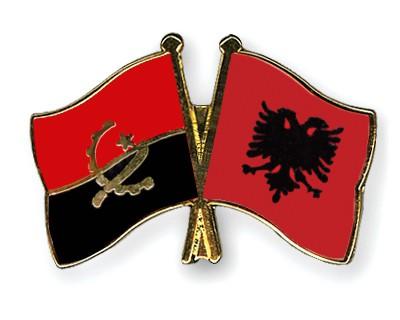 Crossed Flag Pins Angola-Albania
