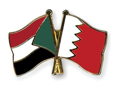 Crossed Flag Pins Sudan-Bahrain