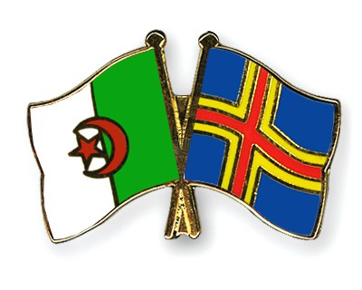 Crossed Flag Pins Algeria-Aland