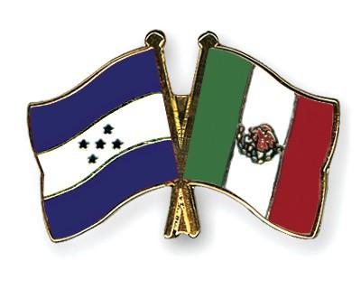 Crossed Flag Pins Honduras-Mexico