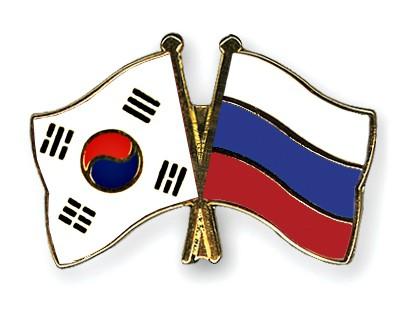 Crossed Flag Pins South-Korea-Russia