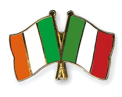 Crossed Flag Pins Ireland-Italy