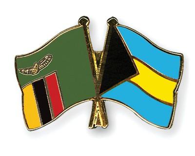Crossed Flag Pins Zambia-Bahamas