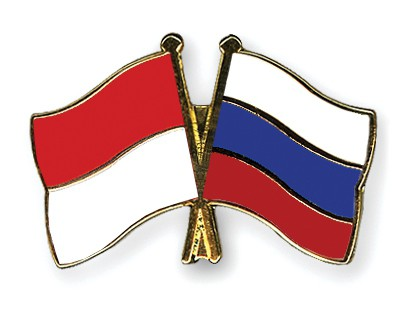 Crossed Flag Pins Indonesia-Russia