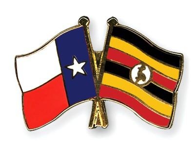Crossed Flag Pins Texas-Uganda
