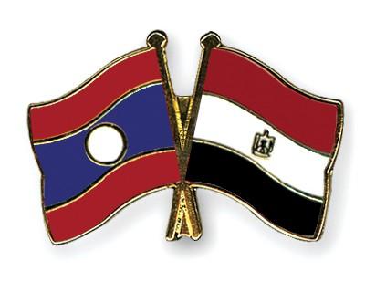 Crossed Flag Pins Laos-Egypt