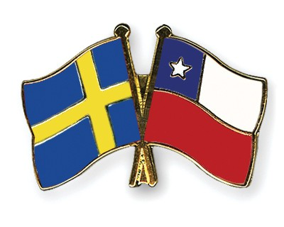 Special Offer Crossed Flag Pins Sweden-Chile