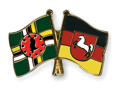 Crossed Flag Pins Dominica-Lower-Saxony