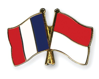 Crossed Flag Pins France-Indonesia