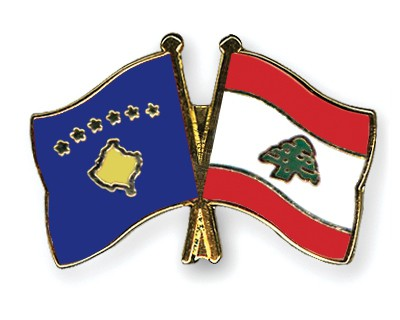 Crossed Flag Pins Kosovo-Lebanon