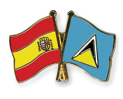 Crossed Flag Pins Spain-Saint-Lucia