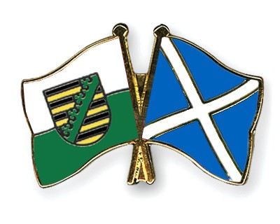 Crossed Flag Pins Saxony-Scotland