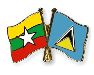 Crossed Flag Pins Myanmar-Saint-Lucia