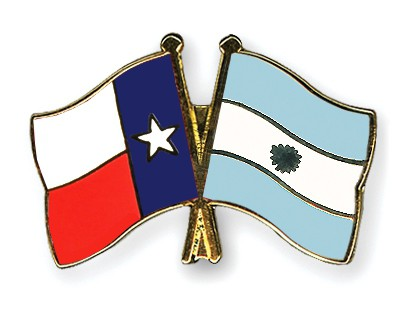 Crossed Flag Pins Texas-Argentina