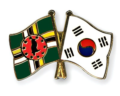 Crossed Flag Pins Dominica-South-Korea