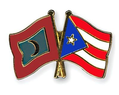 Crossed Flag Pins Maldives-Puerto-Rico