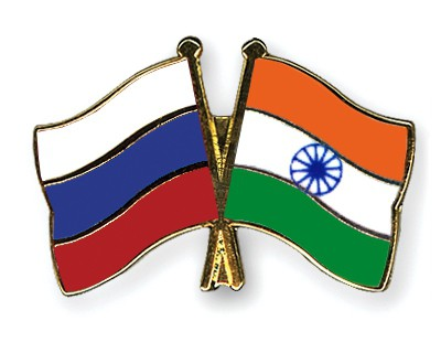 Crossed Flag Pins Russia-India