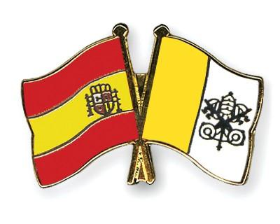 Crossed Flag Pins Spain-Vatican-City