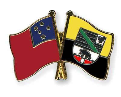 Crossed Flag Pins Samoa-Saxony-Anhalt