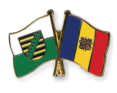 Crossed Flag Pins Saxony-Andorra