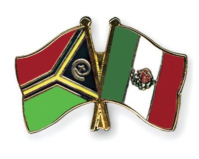 Crossed Flag Pins Vanuatu-Mexico