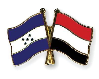 Crossed Flag Pins Honduras-Yemen
