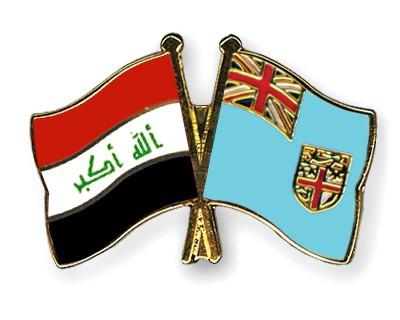 Crossed Flag Pins Iraq-Fiji