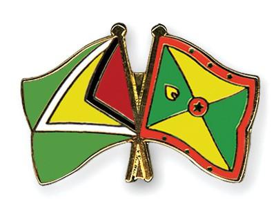 Crossed Flag Pins Guyana-Grenada