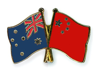 Crossed Flag Pins Australia-China