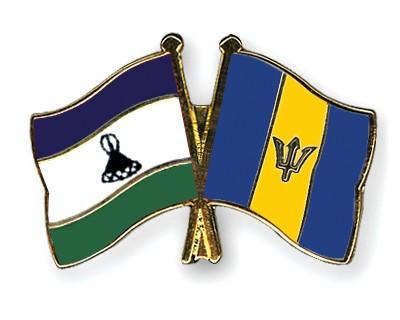 Crossed Flag Pins Lesotho-Barbados