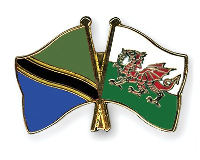 Crossed Flag Pins Tanzania-Wales