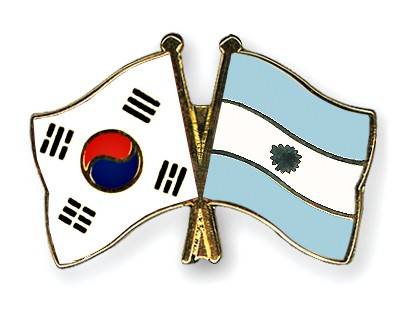 Crossed Flag Pins South-Korea-Argentina
