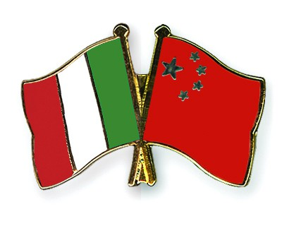 Crossed Flag Pins Italy-China