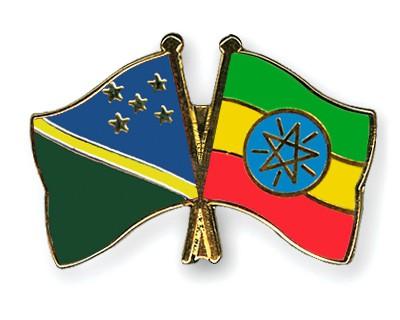 Crossed Flag Pins Solomon-Islands-Ethiopia