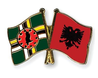 Crossed Flag Pins Dominica-Albania