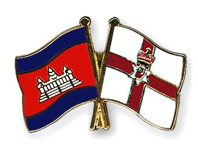 Crossed Flag Pins Cambodia-Northern-Ireland