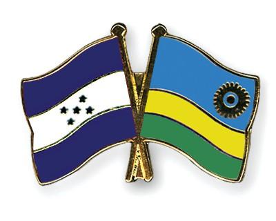 Crossed Flag Pins Honduras-Rwanda