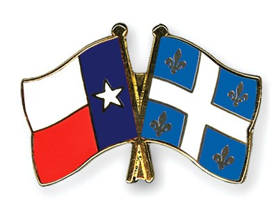 Crossed Flag Pins Texas-Quebec