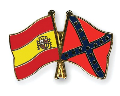 Crossed Flag Pins Spain-Confederate-battle